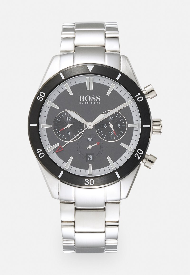 BOSS - SANTIAGO - Watch - silver-coloured/black