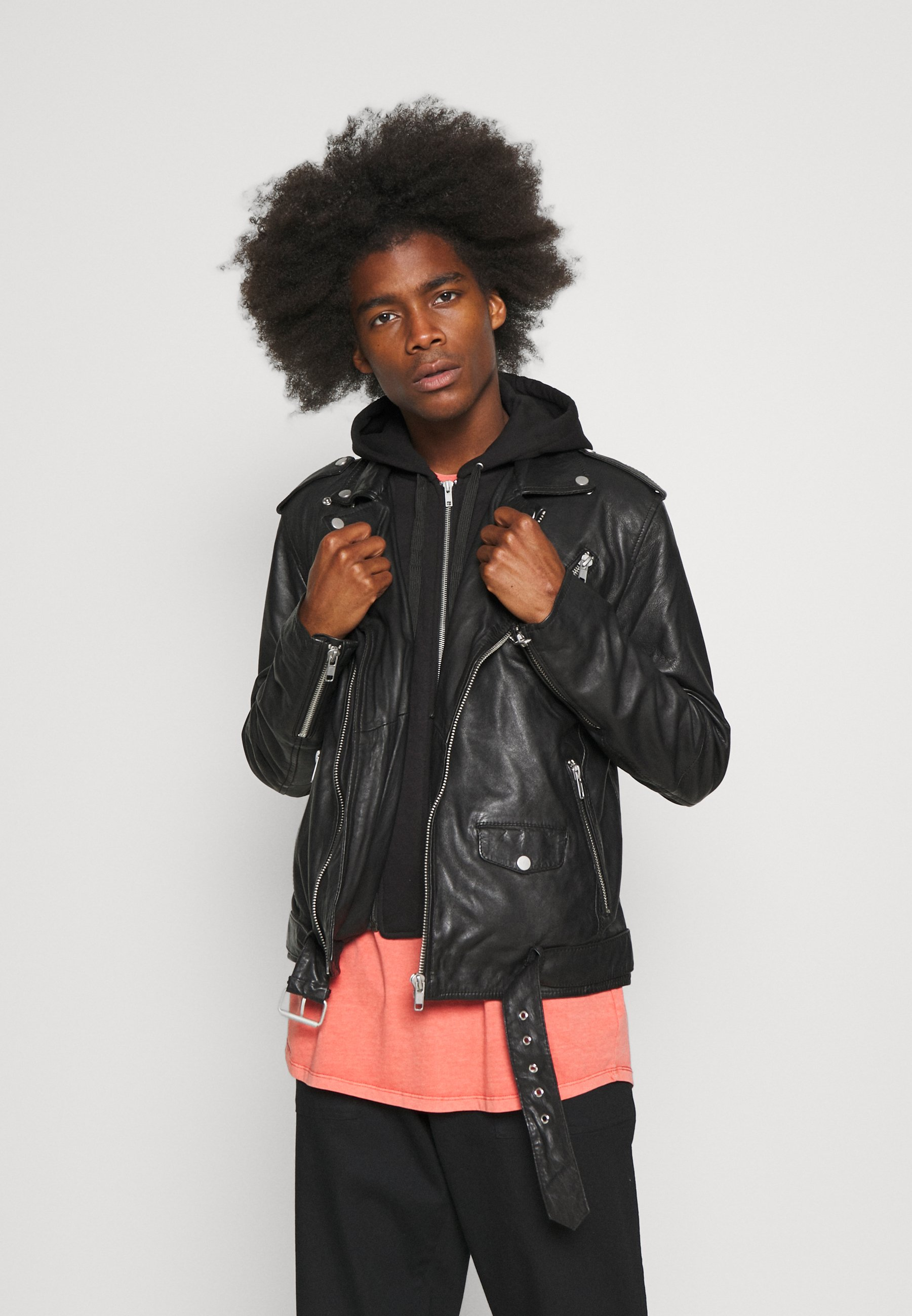 Men ROCK HOOD - Leather jacket