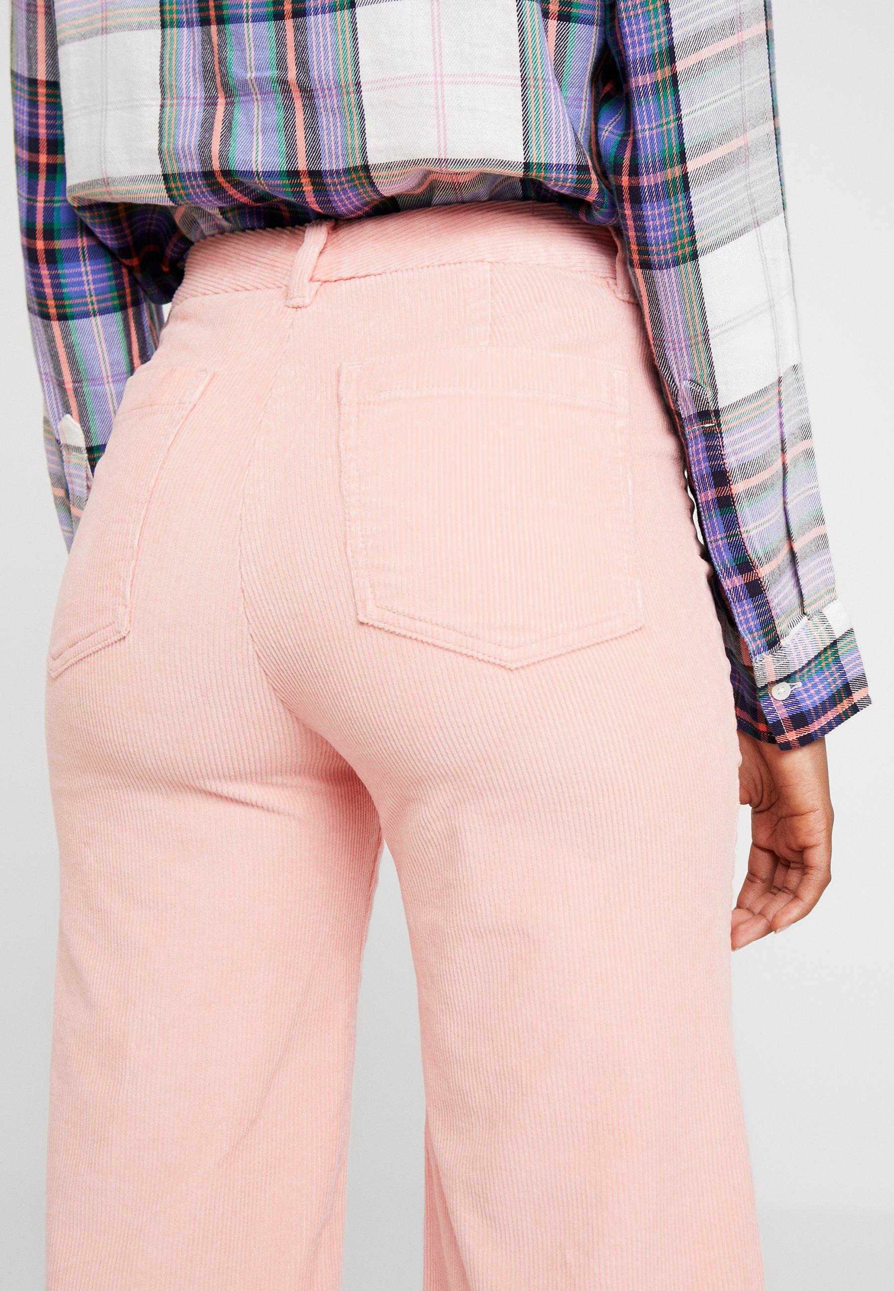 Paper bag bukse i cord Gammelrosa DAME   H&M NO