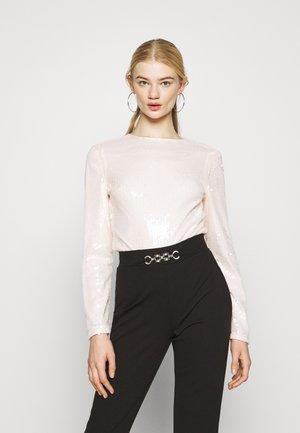 ALL OVER SEQUIN LONG SLEEVE BODYSUIT - Topper langermet - ivory