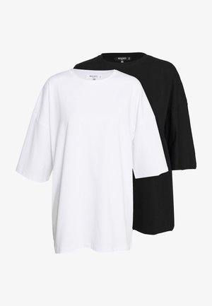 DROP SHOULDER OVERSIZED 2 PACK - T-shirt basic - black/white