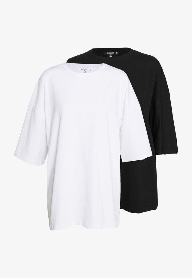 DROP SHOULDER OVERSIZED 2 PACK - T-shirt - bas - black/white