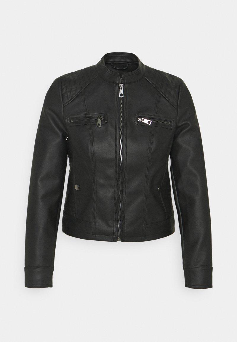Vero Moda Petite - VMTEXAS SHORT JACKET - Imitert skinnjakke - black