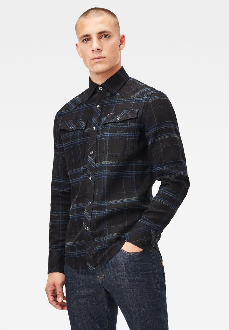 G-Star - 3301 SLIM LONG SLEEVE CHECK - Overhemd - pitch black yoko check