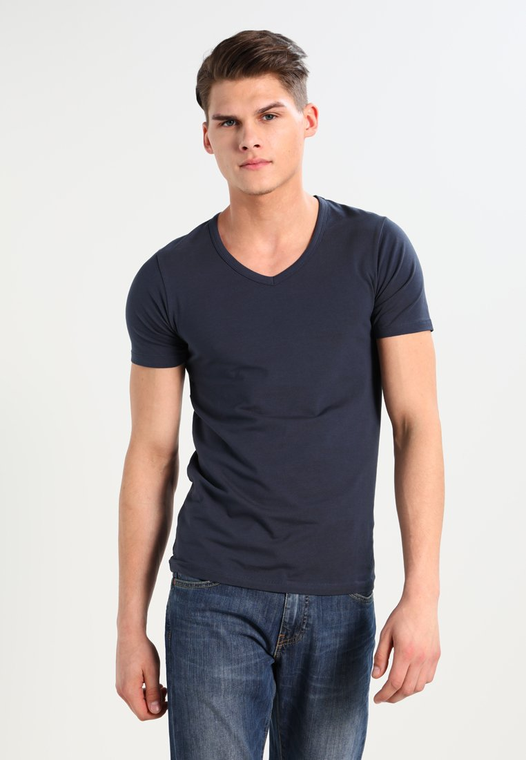 Jack & Jones - BASIC V-NECK  - T-shirt - bas - navy blue