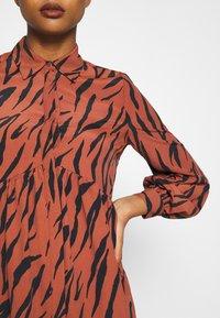 River Island - LISA SMOCK DRESS - Shirt dress - brown - 5
