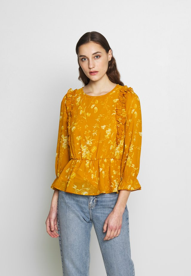 PRINT RUFFLE - Blusa - tonal botanical rich amber