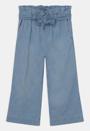 GIRL CROP BELTED  - Bootcut jeans - blue denim