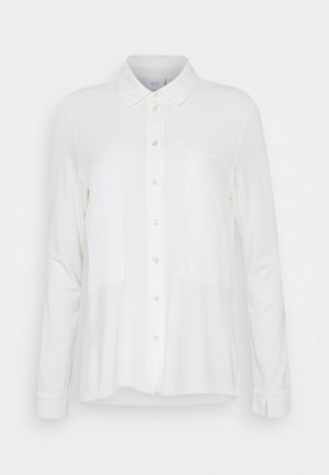 BLOUSE PATCH INSERTS COLLAR AND BUTTON PLACKET - Button-down blouse - clear white