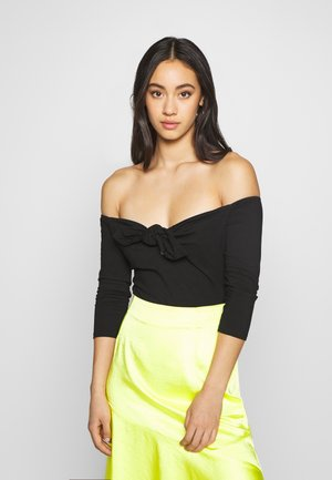 TIE DETAIL LONG SLEEVE BARDOT  - Long sleeved top - black