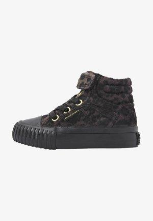 Sneakers hoog - dk grey leopard/gold/black