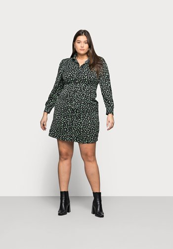 MINI DRESS - Shirt dress - black/green
