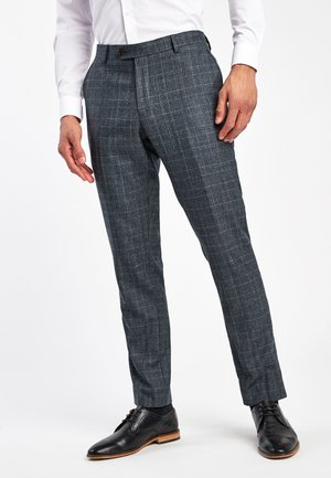 BLUE SLIM FIT MARZOTTO SIGNATURE CHECK SUIT: TROUSERS - Trousers - blue