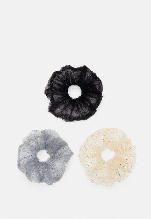 PCSARIA SCRUNCHIE 3 PACK - Hair styling accessory - black/grey