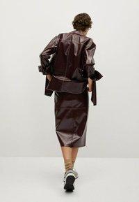 Mango - Leather skirt - donkerrood - 2