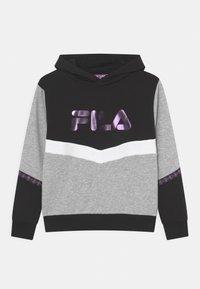 Fila - GRACE TAPED HOODY UNISEX - Sweatshirt - black/light grey melange bros/bright white - 0
