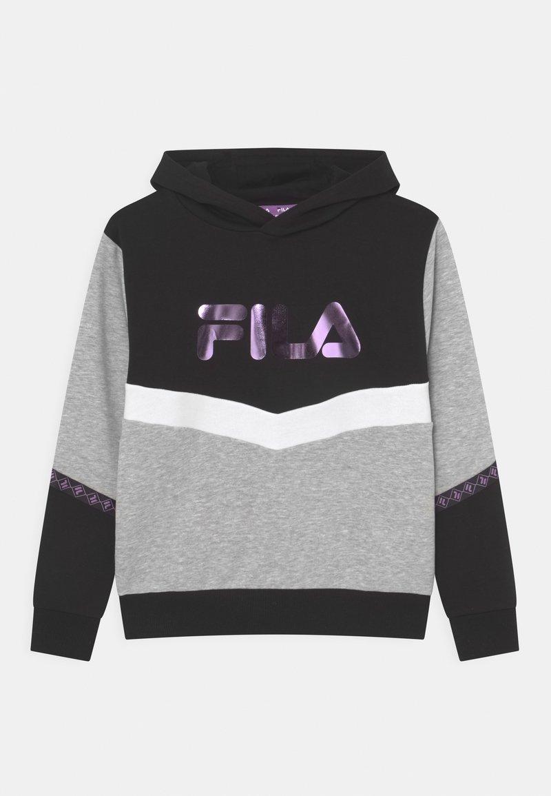 Fila - GRACE TAPED HOODY UNISEX - Sweatshirt - black/light grey melange bros/bright white
