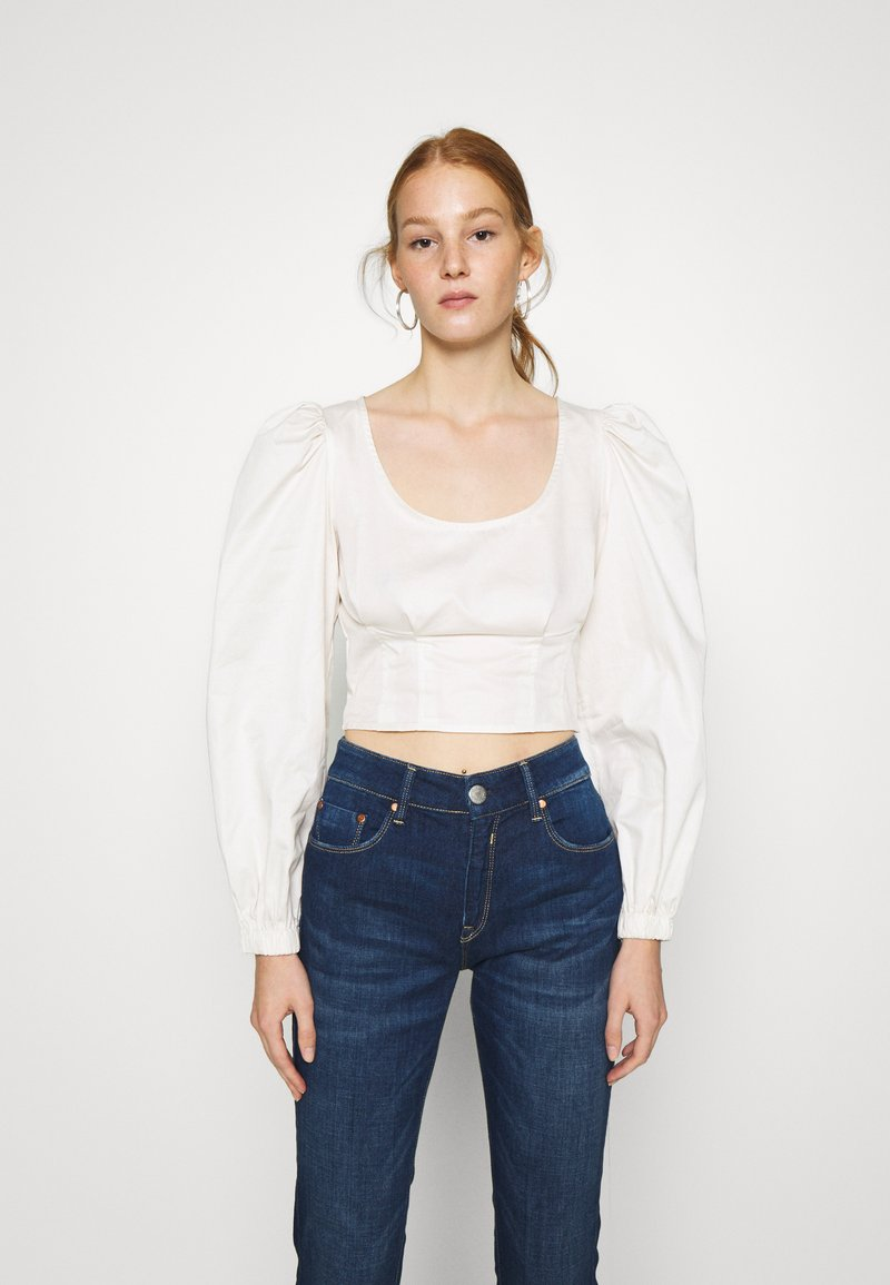 Who What Wear - CROPPED LONG SLEEVE - Blouse - powder