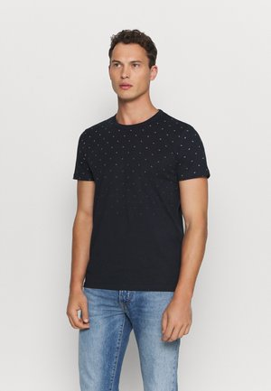 WITH ALLOVERPRINT - T-Shirt print - navy small wave