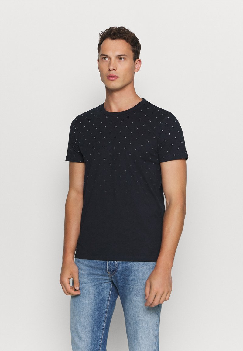 TOM TAILOR DENIM - WITH ALLOVERPRINT - Print T-shirt - navy small wave