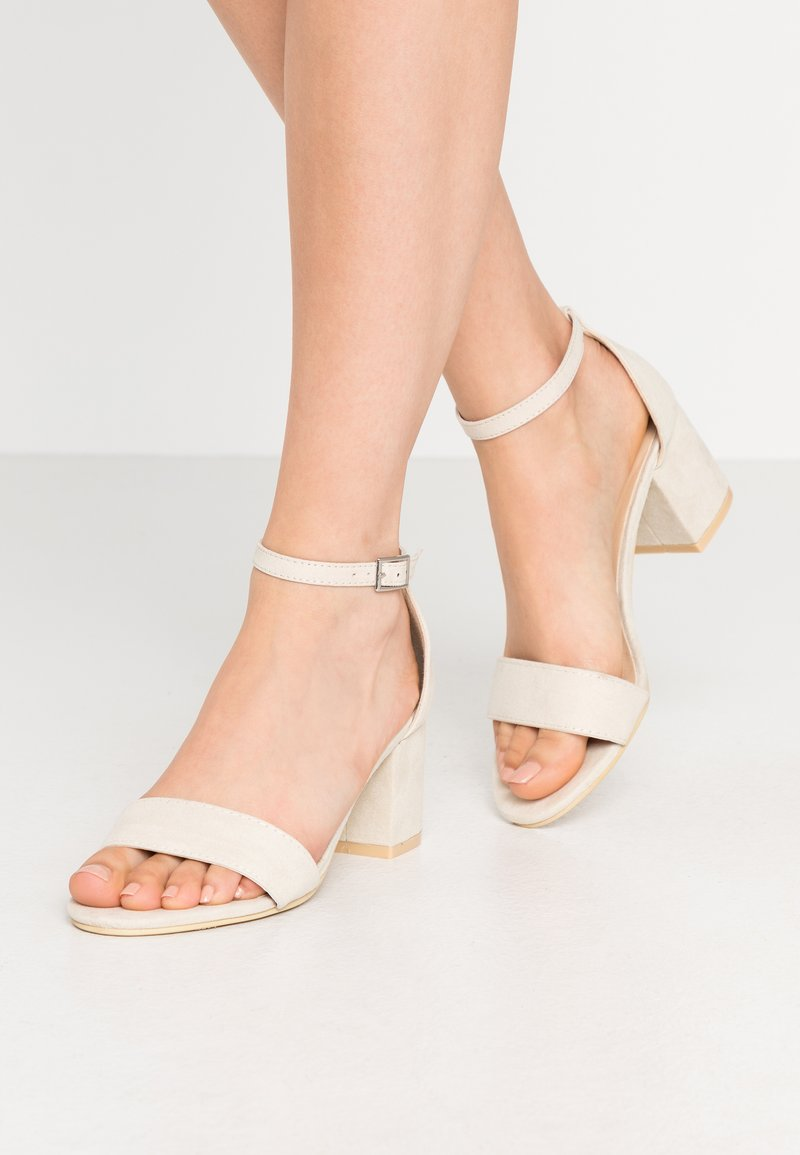 Nly by Nelly - LOW BLOCK  - High heeled sandals - beige