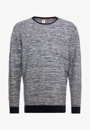 TEXTURED O NECK - Sweter - navy