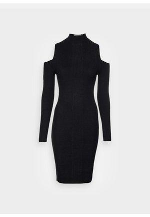 COLD SHOULDER LOGO DRESS - Strikket kjole - black