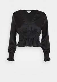 SHIRRED WAIST - Long sleeved top - black