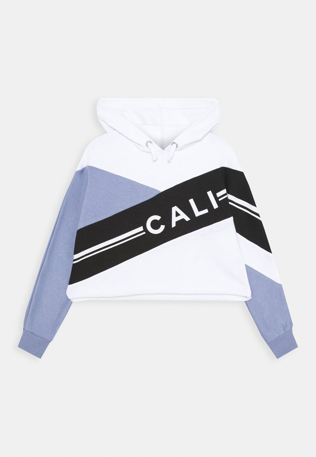 CALI DIAGONAL BLOCK HOODY - Jersey con capucha - mid blue
