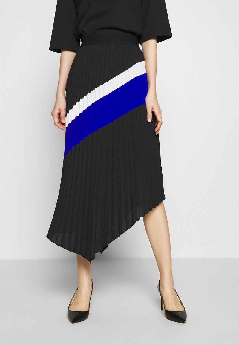 DKNY - PULL ON PLEATED ASYMM - A-snit nederdel/ A-formede nederdele - black/ivory/electric blue