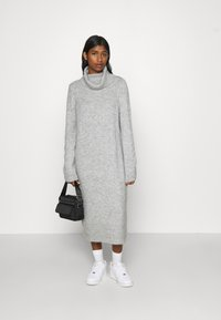 ONLY - ONLBRANDIE ROLL NECK DRESS - Jumper dress - light grey melange - 1