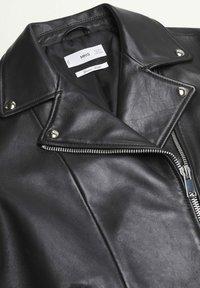 Mango - Leather jacket - schwarz - 6