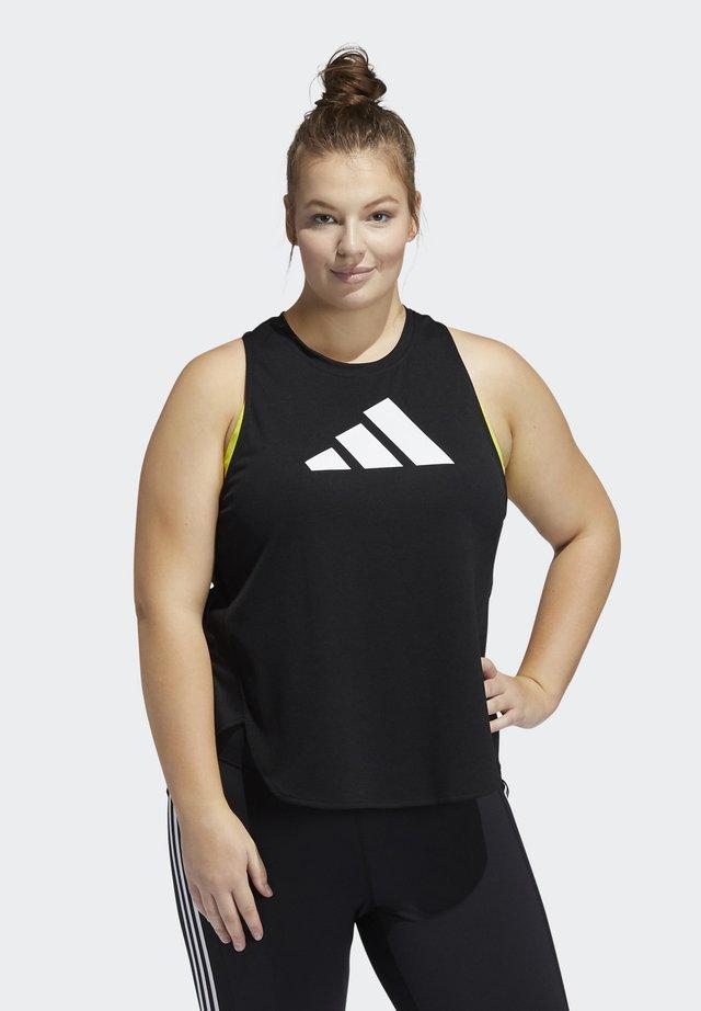 3 BAR LOGO TANK TOP (PLUS SIZE) - Sports shirt - black/white