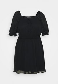 Missguided Plus - PUFF SLEEVE WAIST MINI DRESS - Day dress - black - 0