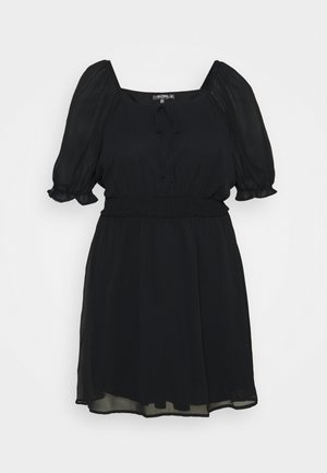 PUFF SLEEVE WAIST MINI DRESS - Day dress - black
