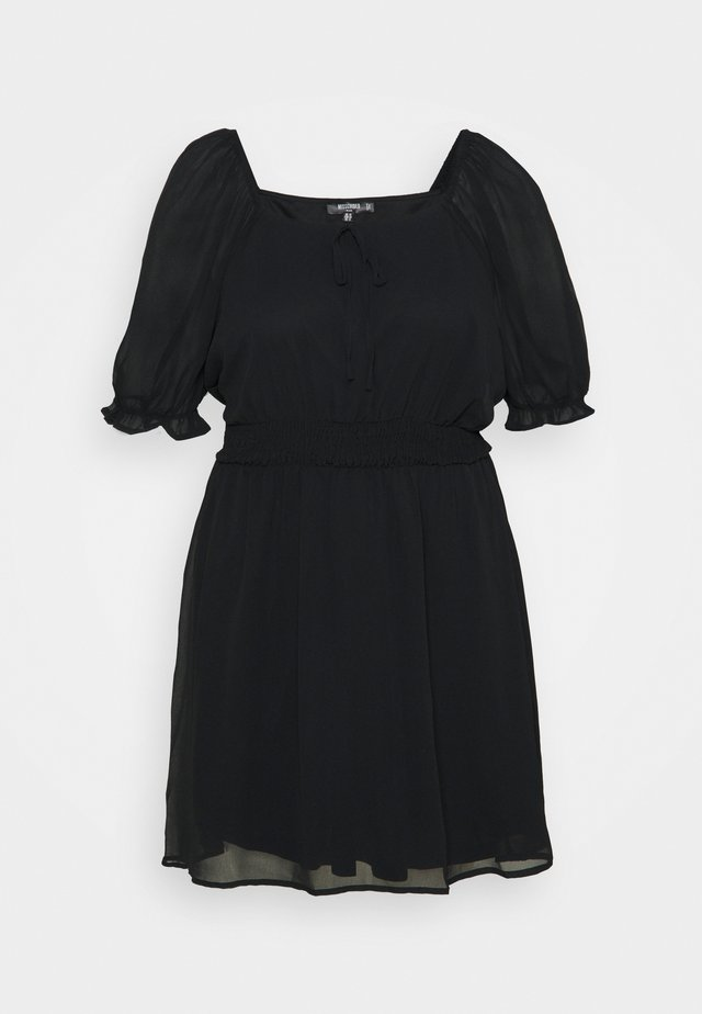 PUFF SLEEVE WAIST MINI DRESS - Robe d'été - black