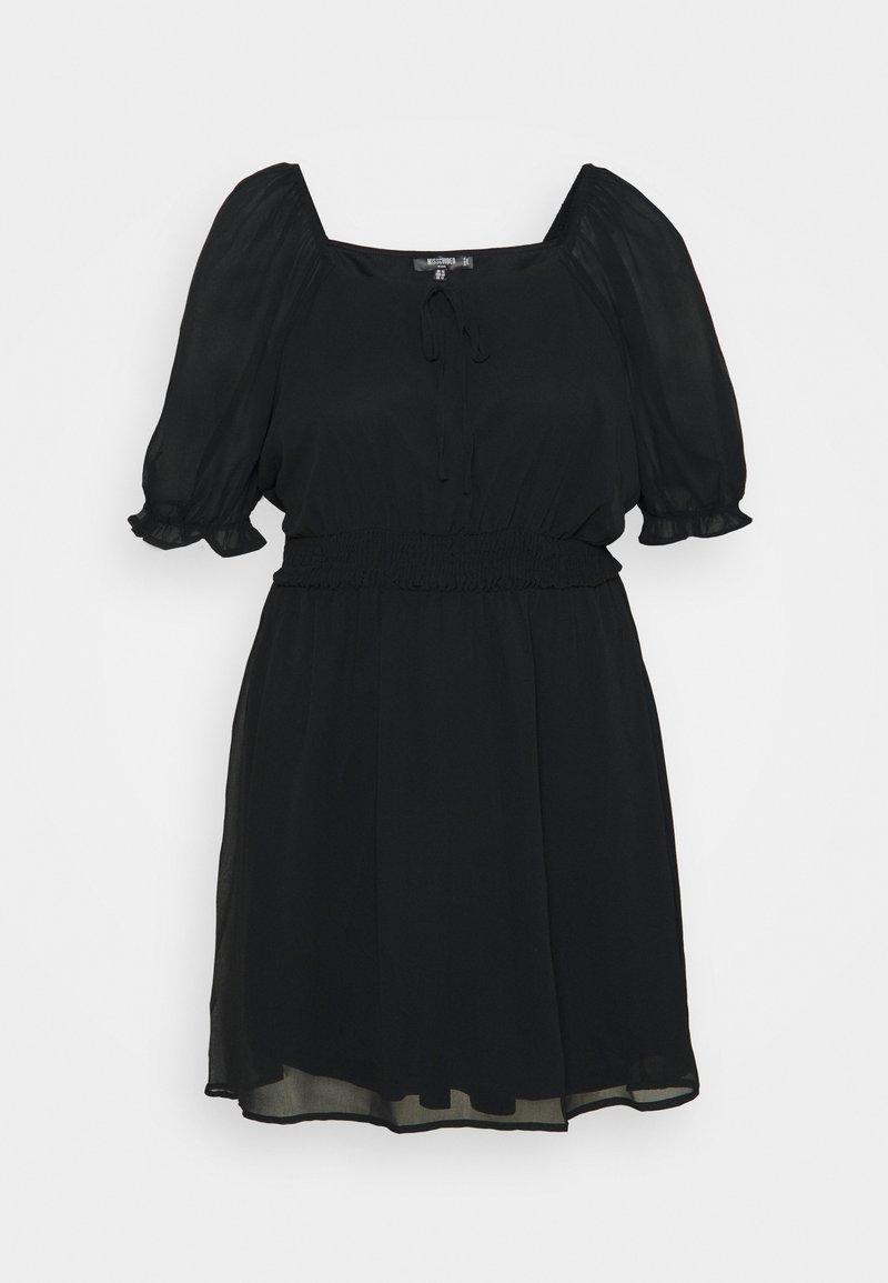 Missguided Plus - PUFF SLEEVE WAIST MINI DRESS - Day dress - black