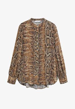 BEDRUCKTES SCHLANGENMUSTER - Button-down blouse - braun
