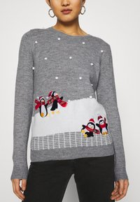 Dorothy Perkins - CHRISTMAS PENGUIN BOBBLE JUMPER - Jumper - grey marl - 4
