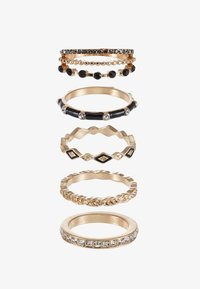 TRESCOE 5 PACK - Ring - black/clear/gold-coloured