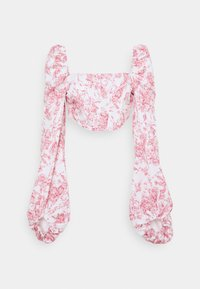 Missguided - PRINTED BALLOON SLEEVE CORSET - Long sleeved top - white - 3