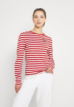 TEE WITH ROUNDED SPECIAL SLEEVES - Long sleeved top - copper/offwhite