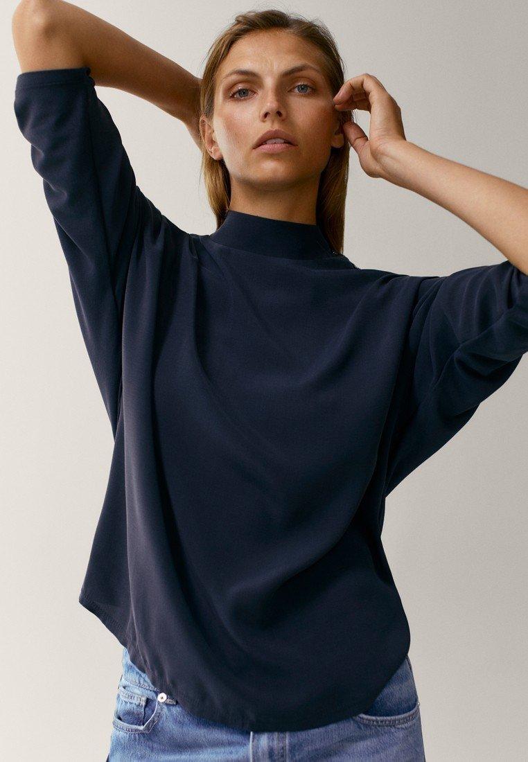 Massimo Dutti - MIT STEHKRAGEN - Long sleeved top - dark blue