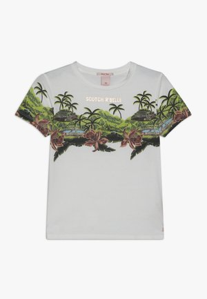 SHORT SLEEVE TEE WITH TROPICAL - Print T-shirt - off white
