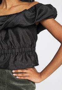 Topshop - TEXTURED BARDOT - Print T-shirt - black - 5