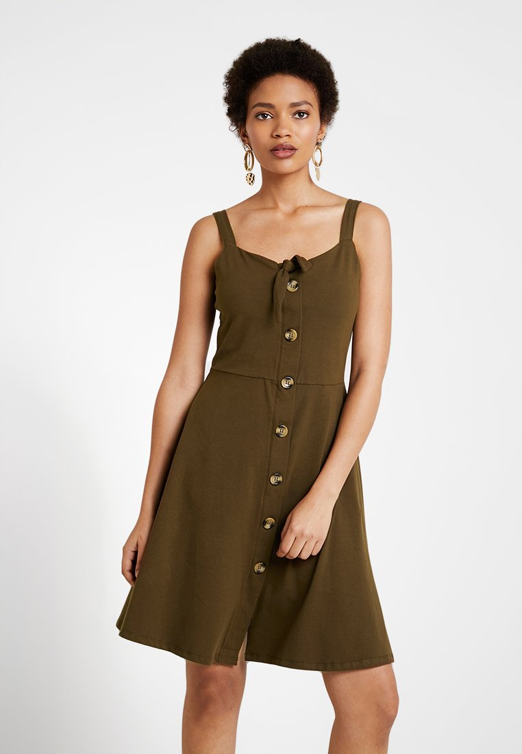 Dorothy Perkins - BUTTON THROUGH BOW CAMI - Žerzejové šaty - khaki