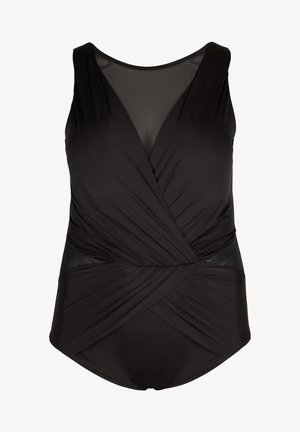 WITH MESH AND DRAPING - Swimsuit - black