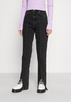 FRONT SLIT  - Straight leg jeans - offblack
