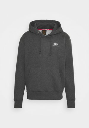 BASIC HOODY SMALL LOGO - Hoodie - charcoal heather/white