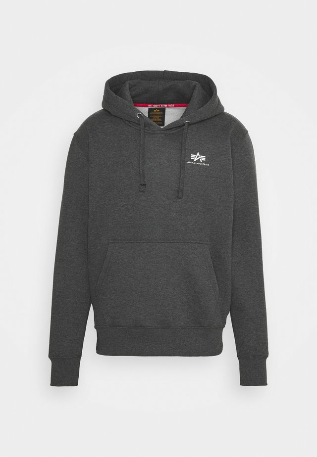 BASIC HOODY SMALL LOGO - Mikina s kapucí - charcoal heather/white